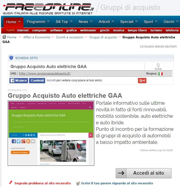 Scheda Gruppo Acquisto Auto su Freeonline