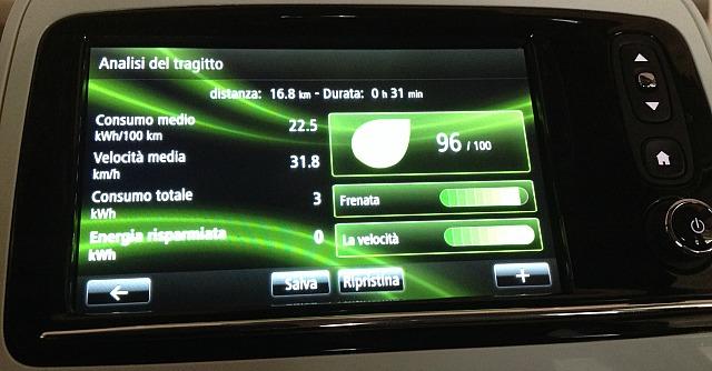 Renault Zoe schermata analisi tragitto