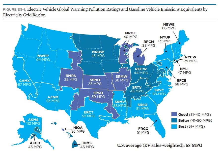 mappa consumi stati USA per eguagliare le auto pulite