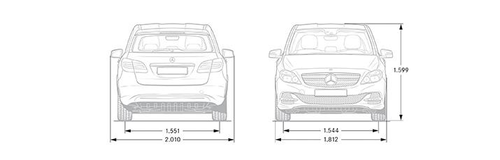 auto elettrica Mercedes-Benz Classe B Electric Drive - Viste anteriore e posteriore