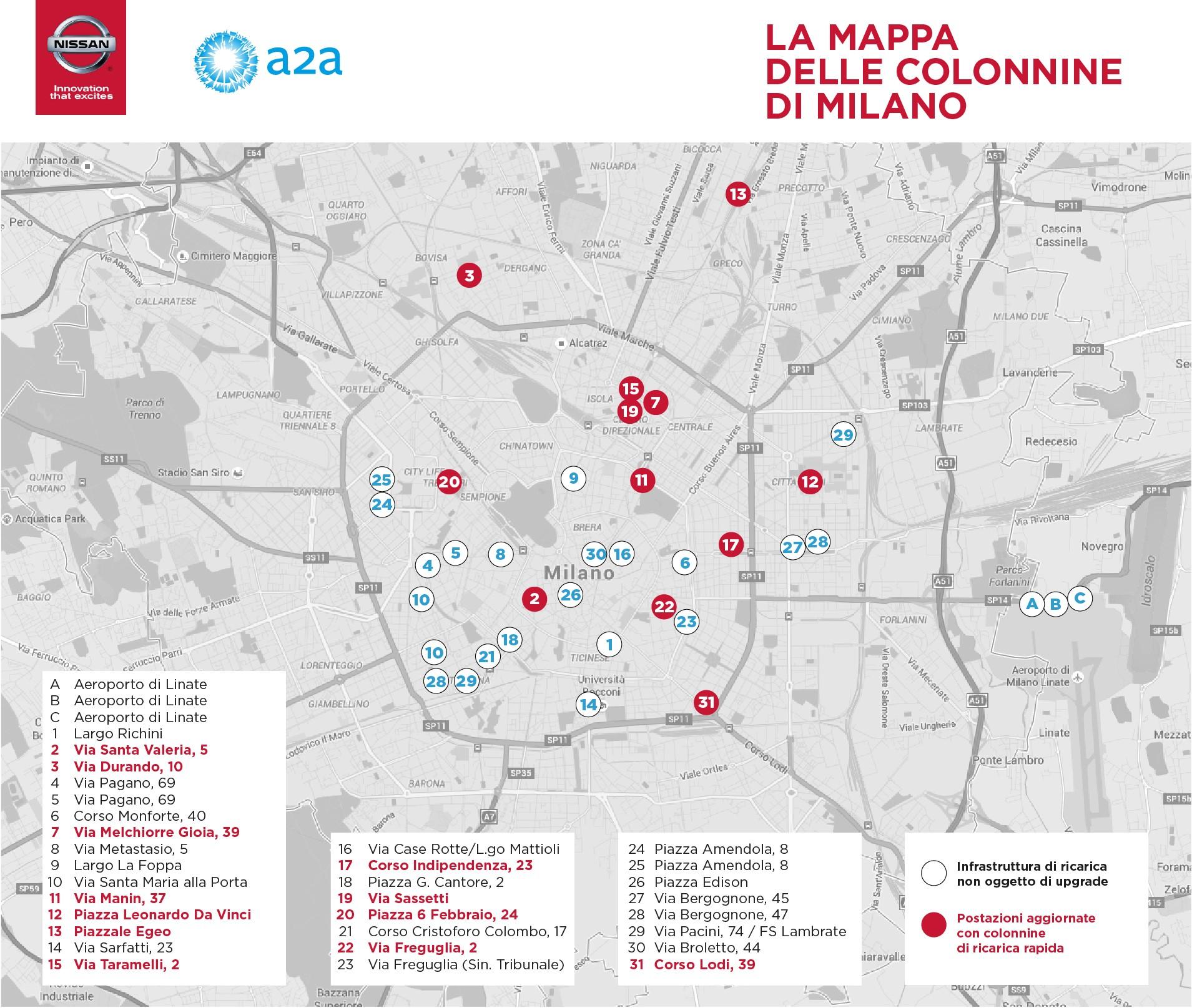Nissan elettrizza Milano Mappa Colonnine