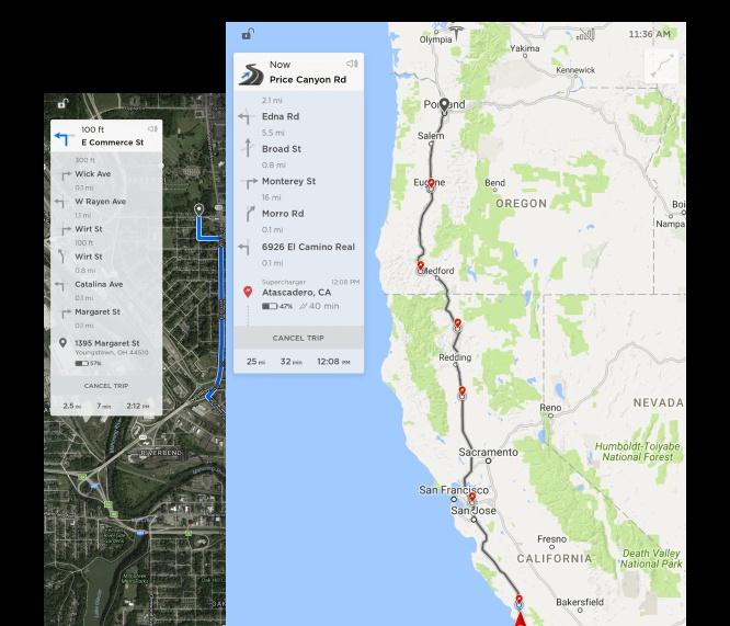 Tesla software 8.0 - Mappe