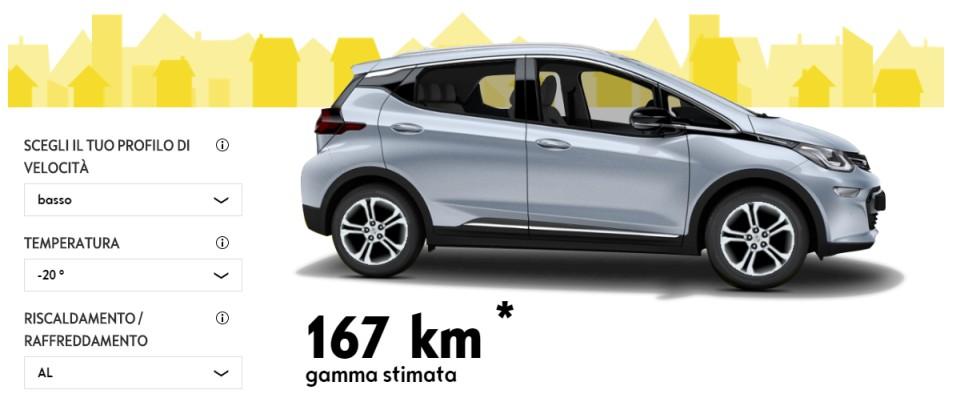 Opel Ampera-e calcolatore autonomia